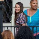 Lea Michele on set of 'Untitled City Mayor Project' in LA - 454 x 438