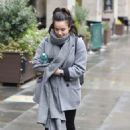 Georgia May Foote in Grey Coat – Out and about in Manchester - 454 x 670