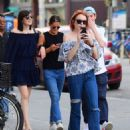 Lindsay Lohan in Jeans with friend out in New York City - 454 x 555