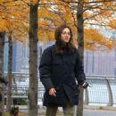 Emmy Rossum and Julia Garner – Filming 'Modern Love' at a Brooklyn Park in NY - 454 x 661