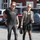 Johnny Hallyday is seen visiting the Brentwood Country Mart with his wife Laeticia on February 2, 2015 in Brentwood, California - 454 x 590