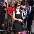 Salma Hayek gives love to her fans as she leaves Good Morning America