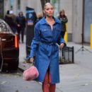 Elsa Hosk in Long Jeans Coat – Out in NYC - 454 x 622