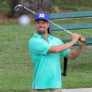 Josh Duhamel stops by the driving range to hit some golf balls in Bel-Air, California on August 6, 2015