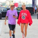 Hailey Baldwin and Justin Bieber at South Street Seaport in New York