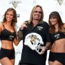 Motley Crue singer and RockStar Investment Group Inc. CEO Vince Neil speaks during a news conference at the Fremont Street Experience to announce the Las Vegas Outlaws as the newest Arena Football League team on September 25, 2014 in Las Vegas, Nevada