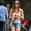 Ashley Greene was spotted walking with a friend in East Village, New York, New York on August 24, 2012