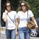 Mandy Moore and Minka Kelly out for some lemonade while wearing matching outfits in Los Angeles, California on September 4, 2014 - 454 x 575