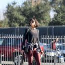Nina Dobrev in Red Spandex – Hits the gym in LA - 454 x 630
