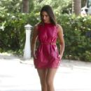 Olivia Culpo in Pink Latex Mini Dress in Miami Beach