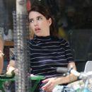 Emma Roberts in Mini Dress on 'Little Italy' set in Toronto - 454 x 642