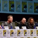 Musician James Hetfield, Lars Ulrich, Kirk Hammett and Robert Trujillo speaks onstage at