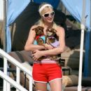 Paris Hilton With Three Dogs In Malibu, July 20 2007