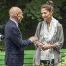Katie Holmes and Patrick Stewart Filming in a Park in Montreal - 454 x 567