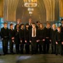 (L-r) RYAN NELSON as Slightly Creepy Boy, NICK SHRIM as Somewhat Doubtful Boy, BONNIE WRIGHT as Ginny Weasley, SHEFALI CHOWDHURY as Parvati Patil, OLIVER PHELPS as George Weasley, AFSHAN AZAD as Padma Patil, KATIE LEUNG as Cho Chang, JAMES PHELPS as Fred