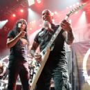 Joey Belladonna and guitarist Scott Ian of Anthrax perform at Brooklyn Bowl Las Vegas at The LINQ Promenade on February 11, 2016 in Las Vegas, Nevada.