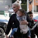 Gwen Stefani takes her sons Kingston, Zuma, and Apollo to church in North Hollywood on April 10, 2016