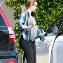 Leighton Meester In Tights Out In La