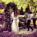 Just married: Sydney model Bambi Northwood-Blyth and designer Dan Single tied the knot in Byron Bay on Saturday - 454 x 383