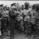 Eisenhower speaks with U.S. paratroopers of the 502d Parachute Infantry Regiment, 101st Airborne Division on the evening of June 5, 1944. - 454 x 364
