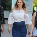 Kimberley Walsh in Jeans Skirt at ITV Studios in London - 454 x 821