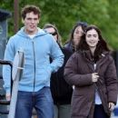 Lily Collins and Sam Claflin on the set of