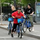Sophie Turnerwith Joe Jonas Riding Citibikes in Soho