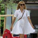 Michelle Hunziker in White Dress out in Milan - 454 x 681