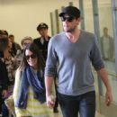 Lea Michele and Cory Monteith: arrived on a flight at LAX airport