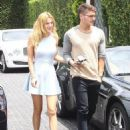 Happy couple Bella Thorne and Gregg Sulkin enjoy lunch at Cecconi's in West Hollywood, California on July 21, 2015