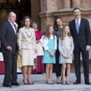 King Felipe VI of Spain, Queen Letizia of Spain attended Easter Mass in Palma  (April 1, 2018) - 454 x 302