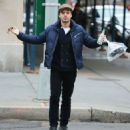 Sebastian Stan getting his lunch to go in New York City, New York on December 20, 2014