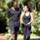 Kim Kardashian and Kanye West heading to their workout in Los Angeles, CA (August 11)