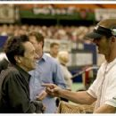 Producer Brian Grazer and Director Peter Berg chat on-set at the Astrodome. - 402 x 273