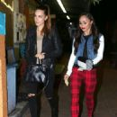 Actor Jesse Metcalfe's fiancee Cara Santana and model Blanda Eggenschwiler, who's dating Joe Jonas, smile for the camera as they leave Pace restaurant in Hollywood, California on November 19, 2013