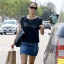 Jordana Brewster in Jeans Skirt out in Brentwood - August 26, 2016