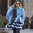 Suki Waterhouse in Blue Fur Coat out in Soho February 3, 2017 - 454 x 655