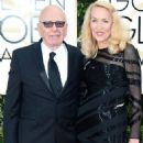 Still going strong! Jerry Hall, 59, hits the Golden Globes red carpet on the arm of 84-year-old Rupert Murdoch - three months after it was revealed they are dating - 11 Jan 2016 - 454 x 568