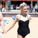 Chloe Jasmine in Black Swimsuit on the beach in Cape Verde - 454 x 681