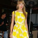 Taylor Swift is lovely in yellow as she leaves Il Pastaio restaurant on Friday (March 30) in Beverly Hills, Calif