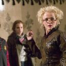 Daniel Radcliffe as Harry Potter, Emma Watson as Hermione Granger and Miranda Richardson as Rita Skeeter in Warner Bros. Pictures' Harry Potter and the Goblet of Fire - 2005