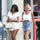 Tina Louise with her friend CJ Franco on their way to diner at Pura Vida in West Hollywood