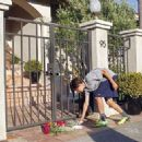 Goodbye: A neighbor brings flowers to place at the front gate of US actor Robin Williams house on 11 August 2014. Oscar-winning actor and comedian Robin Williams was found dead of an apparent suicide in his Tiburon home, near San Francisco on Monday Augus