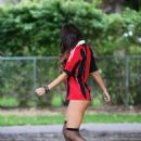 CLAUDIA ROMANI in Bikini Bottoms Playing Soccer in Park in Miami