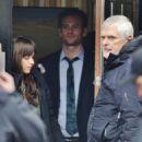 Eric Johnson, Bella Heathcote & Dakota Johnson on set of Fifty Shades Darker