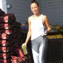 Cara Santana in Grey Tights at Bristol Farms in Beverly Hills