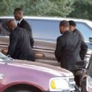 Bobbi Kristina's casket is seen being removed from a hearse and carried into the St. James United Methodist Church ahead of her funeral services on August 1, 2015 in Alpharetta, Georgia - 454 x 334