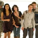 "(Left to right) Lily (Jessica Lucas), Marlena (Lizzy Caplan), Rob (Michael Stahl-David), and Hud (T.J. Miller) seek refuge with the military troops protecting New York from a terrorizing monster in ""Cloverfield."" Photo Credit: Sam Emerson. © 2 - 454 x 316"