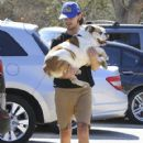Shia LaBeouf and his new wife, Mia Goth, spend the day at the dog park in Studio City, California on October 15, 2016