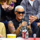 Amber Rose attends the LA Lakers vs LA Clippers Game at the Staples Center in Los Angeles, California - April 7, 2015